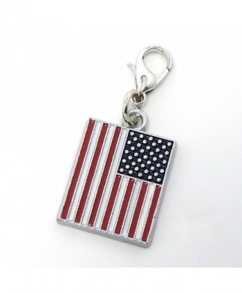"Jewelry Monster Clip-on ""Small American Flag"" Charm Bead - C111SQNK1M7"