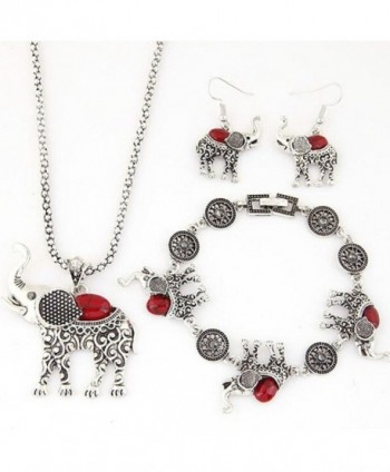 Dreamyth Women Jewelry Sets Necklace & Earring & Bracelet Set Animal Elephant Crystal Pendant Jewelry - Red - CQ12O01B1HR