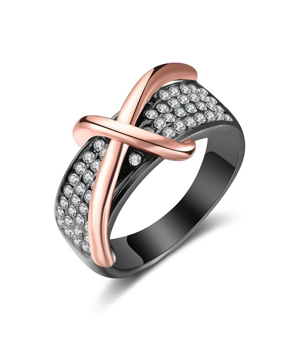 Dnswez 2 Tone Rose Gold Cross Statement Band Ring-Black Gun Plated with Crystals - C21887SI4TY