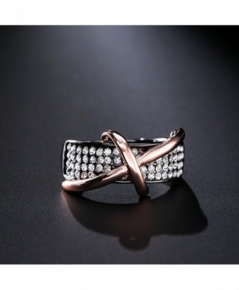Dnswez Statement Ring Black Plated Crystals
