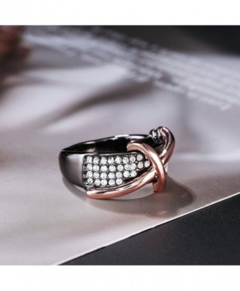 Dnswez Statement Ring Black Plated Crystals in Women's Band Rings