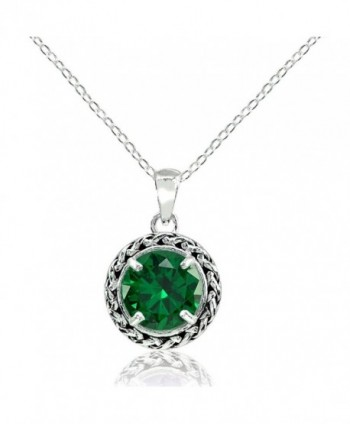 Sterling Silver Genuine- Simulated- or Created Gemstone Round Oxidized Rope Pendant Necklace - Simulated Emerald - CN187RKNR5R