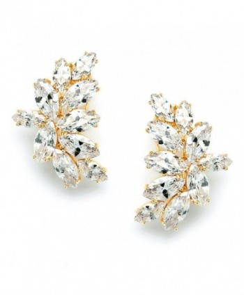 Mariell 14K Gold Plated CZ Clip Earrings with Marquis-Cut Clusters - Bridal- Wedding & Mother of Bride - C812JGUEQ51
