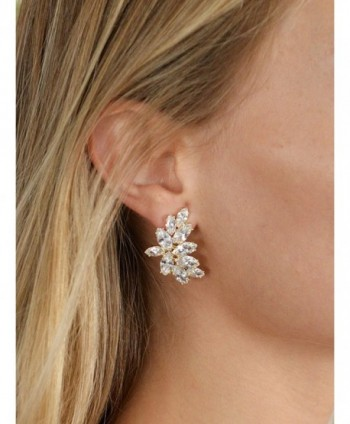 Mariell Plated Earrings Marquis Cut Clusters in Women's Clip-Ons Earrings