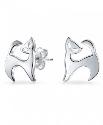 Bling Jewelry Modern Kitty Cat Animal Stud earrings 925 Sterling Silver 11m - C411OHRQHLZ