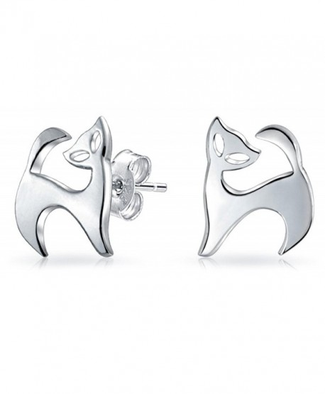 Bling Jewelry Modern Kitty Cat Animal Stud earrings 925 Sterling Silver 11m - C411OHRQHLZ