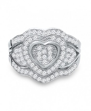 DTLA Sterling Silver Heart Ring Double Band with Cubic Zirconia - CI11U8JEDLR