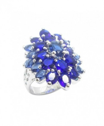 Ring Luxury Design Oval Navy Blue Color CZ White Gold Plating - CX185E4D59S