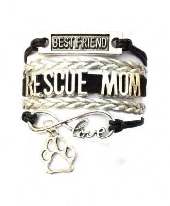 DOLON Braided Best Friend Rescue Mom Animal Paw Bracelet-4 Colors - Black with Silver - CH17YQIQ2KM