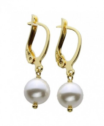 Gold-Plated Sterling Silver Leverback Earrings 8mm Simulated Pearl Made with Swarovski Crystals - CL11NXISM2V