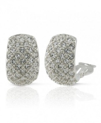 JanKuo Jewelry Rhodium Plated Crystal Pave Half Semi Hoop Clip On Earrings - CH122T6FA9T