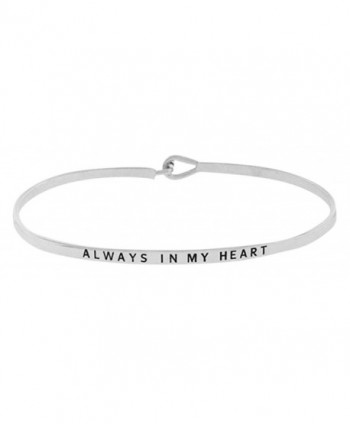 ALWAYS IN MY HEART Sentimental Quote Thin Brass Bangle Hook Mantra Bracelet - Silver Tone - CB12M3GZOIN
