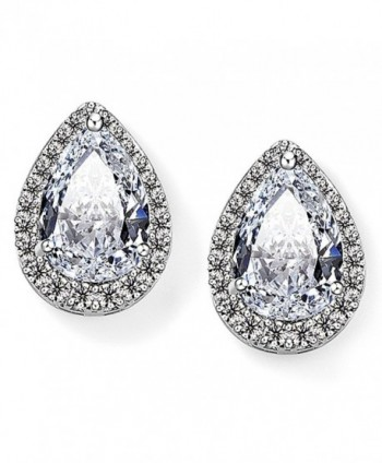 EVER FAITH Women's Cubic Zirconia Wedding Teardrop Prong Setting Stud Earrings Silver-Tone - CI11O4MIMRZ