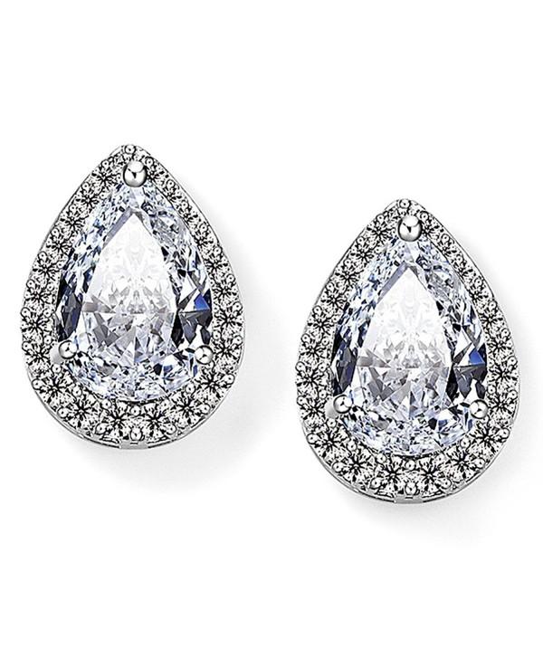 EVER FAITH Women's Cubic Zirconia Wedding Teardrop Prong Setting Stud Earrings Silver-Tone - CI11O4MIMRZ