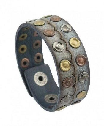 PealyPearls Genuine Leather Wristband Rivets Wide Belt Bracelet Unisex Jewelry - Grey - C212ICFQUNR