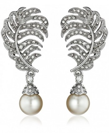 Kenneth Jay Lane Bride Simulated Pearl Crystal Leaf Post Dangle Drop Earrings - Silver/Cream - C811QGGJEV5