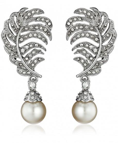 Kenneth Jay Lane Bride Simulated Pearl Crystal Leaf Post Dangle Drop Earrings - Silver/Cream - C811QGGJEV5