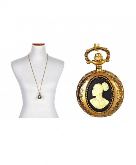 Cameo Locket Necklace Watch Vintage Black Women - CC1820IWM45