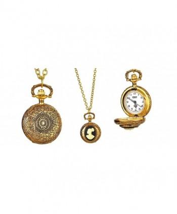 Cameo Locket Necklace Watch Vintage