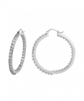 Jewelili Sterling Silver Created White Sapphire Inside-Out Hoop Earrings - CZ18559ES9I