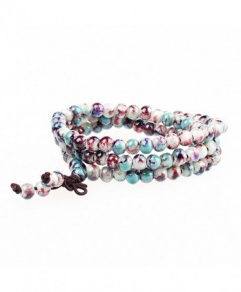 MUFY Chinese Style Jindezhen Kiln Discoloration Ceramic Bead Bracelets Religious Necklaces - C3124H6MKL1