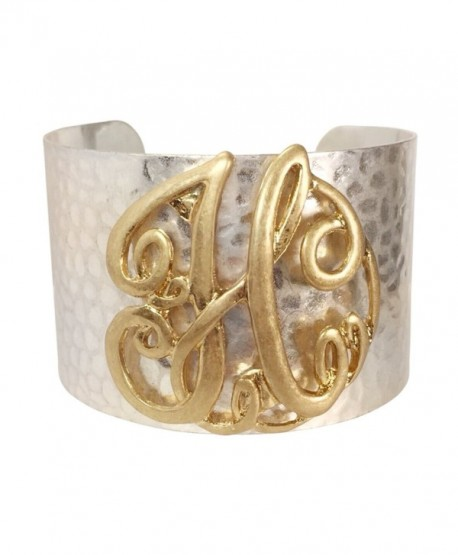 Wide 2 Tone Hammered Boutique Look Monogram Initial Cuff Bracelet - C612MNZDRHT