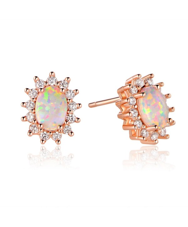 GEMSME October Birthstone Rose Gold Oval Stud Earrings With Halo Cubic Zirconia For Girls - C9188C46RK2