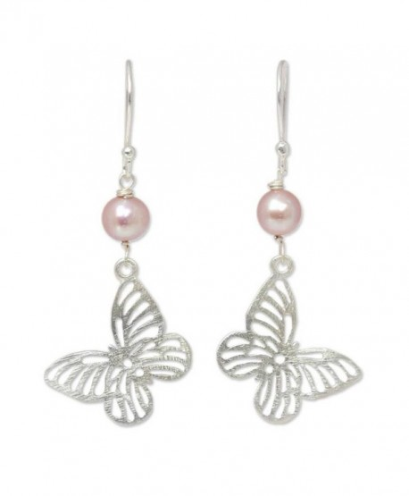 NOVICA Dyed Cultured Freshwater Pearl Sterling Silver Butterfly Dangle Earrings 'Butterfly Moons' - C211E4QB5J3