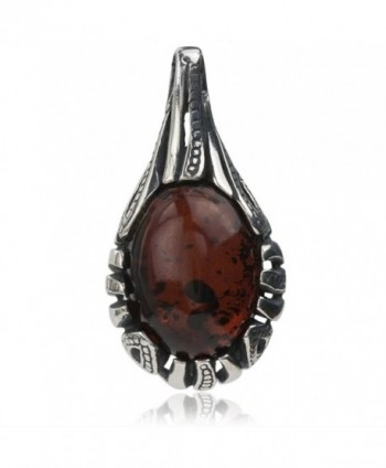 Sterling Silver Red Dark Amber Drop Pendant - CX119VZ25F5