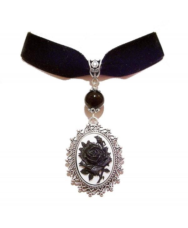 Black velvet Choker Necklace w White & Black Rose Cameo - CF12EB5B61D