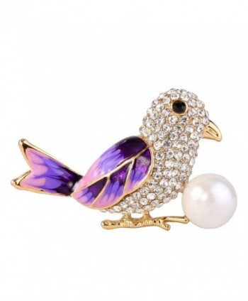 EVER FAITH Women's Crystal Simulated Pearl Enamel Adorable Little Bird Brooch Clear Gold-Tone - Purple - CA12NG9PL2K
