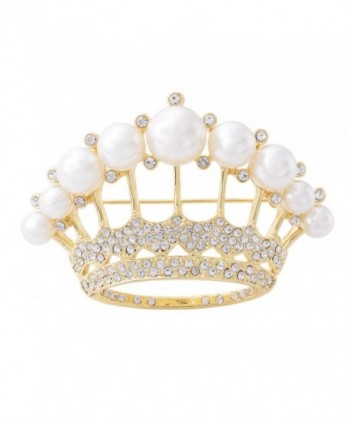 OBONNIE Large Gold Tone Crystal Queen Crown Pin Brooch With Pearl Wedding Bridal Pin - Pale Gold - CY12NZZH0Y8