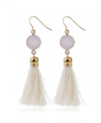Women Statement Healing Crystal Gemstone Tassel Bohemian Colorful Drop Dangle Earrings - White - C11843A7KQI