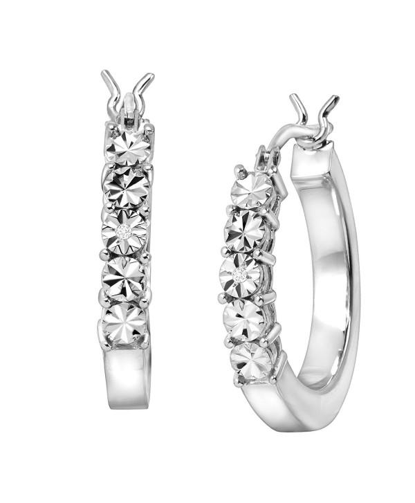 Square Tube Hoop Earrings with Diamonds in Sterling Silver - CU183MI3YD5