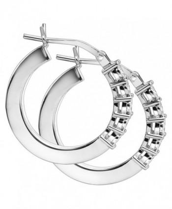 Square Earrings Diamonds Sterling Silver in Women's Hoop Earrings