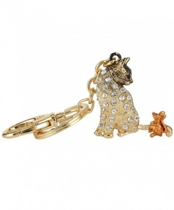 EVER FAITH Austrian Crystal Enamel Adorable Animal Cat and Mouse Friend Keychain Clear - Gold-Tone - CH17YY4L3LM