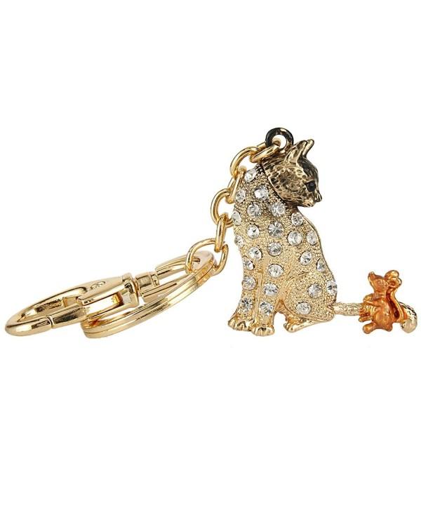 EVER FAITH Austrian Crystal Enamel Adorable Animal Cat and Mouse Friend Keychain Clear - Gold-Tone - CH17YY4L3LM
