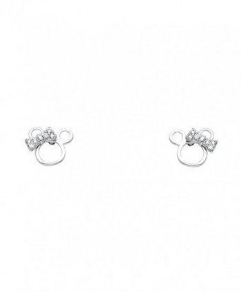14k Yellow OR White Gold Mouse Stud Earrings with Screw Back - CQ122E3V0O7