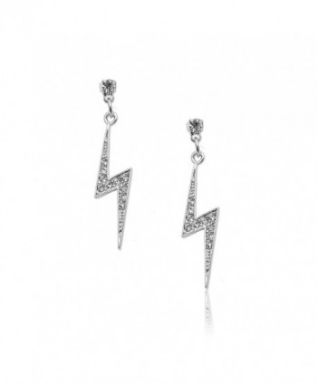 Spinningdaisy Silver Plated Crystal Lightning Bolt Earrings - C711B4EHFDX