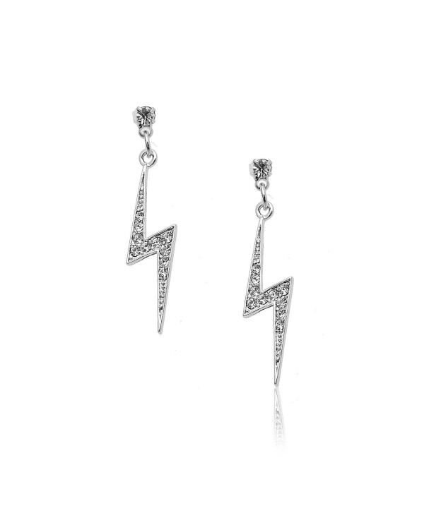 Silver Plated Crystal Lightning Bolt Earrings C711b4ehfdx