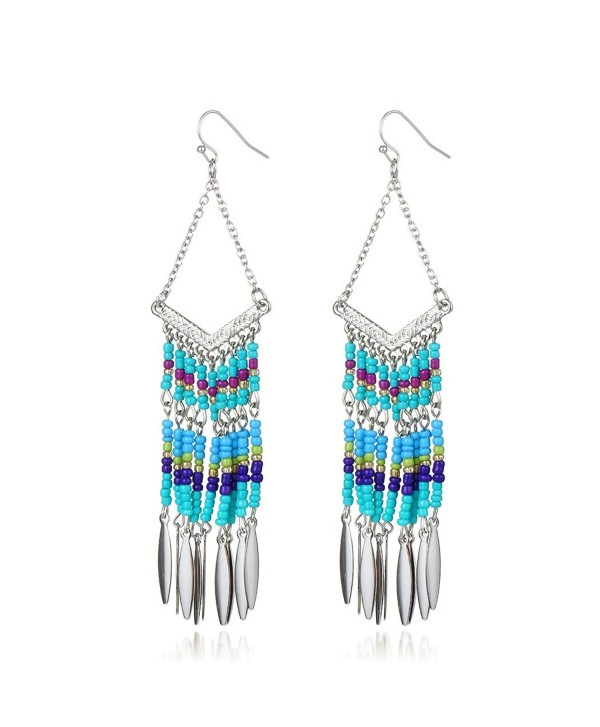 Bohemian V-shaped Colorful Beads Alloy Oval Tassel Drop Earrings - Silver - C812J44PLTJ