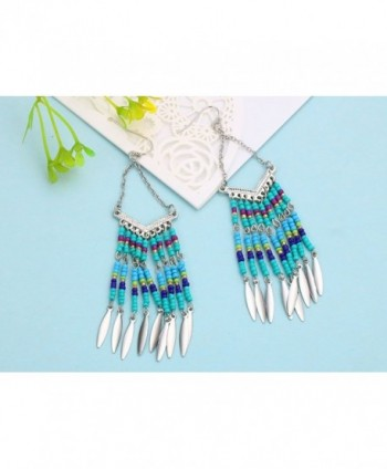 Bohemian V shaped Colorful Tassel Earrings in Women's Drop & Dangle Earrings