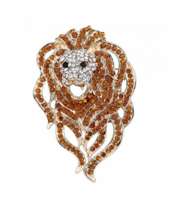EVER FAITH Austrian Crystal Gorgeous Animal Lion Head Brooch - Brown Gold-Tone - CS11P2VISM1