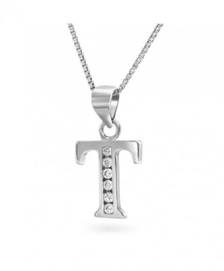 """Sterling Silver Cubic Zirconia Alphabet Initial Pendant Necklace- 18"""" - CM12E1MR5C5"""