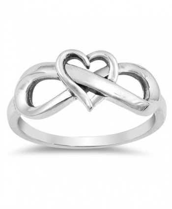 CHOOSE YOUR COLOR Sterling Silver Infinity Love Knot Heart Promise Ring - CO1854N7UD5