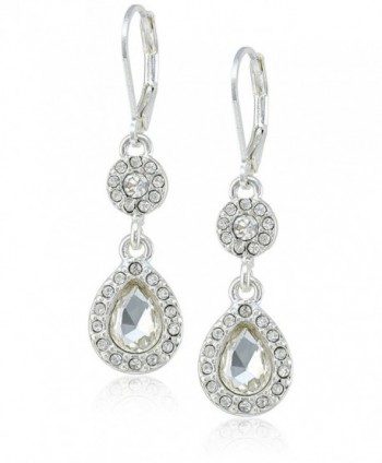 Napier Glam Effect Crystal Double-Drop Earrings - Silver - CH11S8N38HP