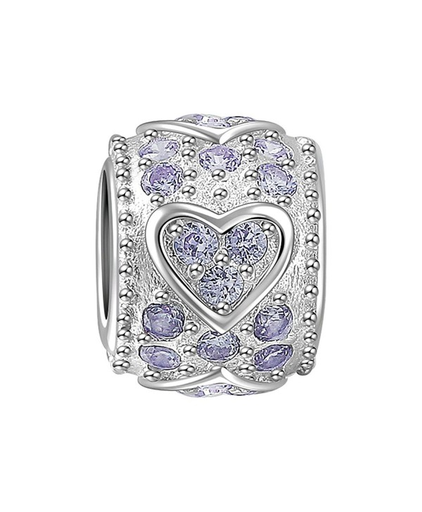 SOUFEEL Light Purple Swarovski Crystal Heart Charm 925 Sterling Silver Charms Fit European Bracelets Women Gifts - C511LT1O7XR