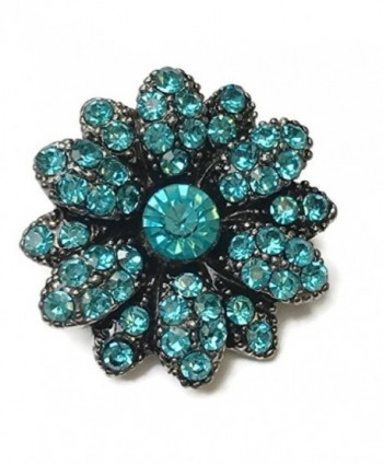 Interchangeable Snap Jewelry Rhinestone Snap Flower Light Blue by My Gifts - CB17AZLGKHM