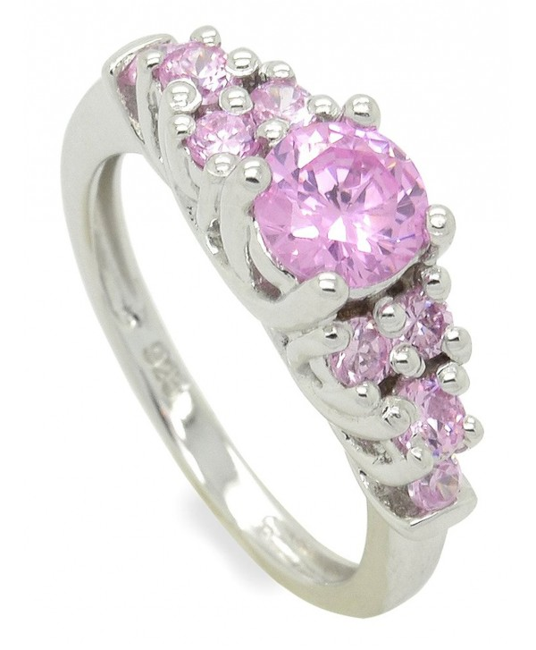 Sterling Silver CZ Side Stones Stackable Ring - Pink - CI11JD98DYV
