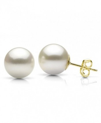 White Cultured Freshwater Pearl Stud Earrings 14K Yellow Gold Jewelry for Women - CD183G5YZ6Q